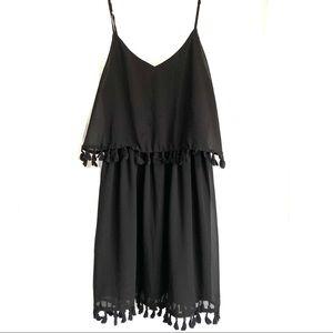 Xhilaration Black Tank Fringe Chiffon Dress L